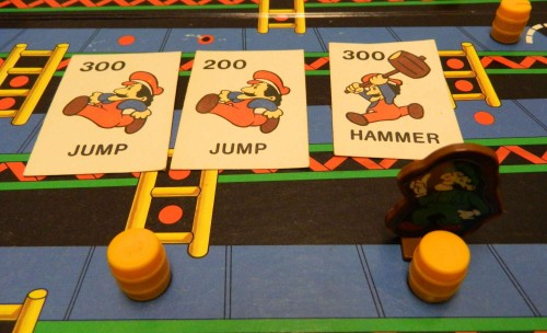Using cards in Donkey Kong board game