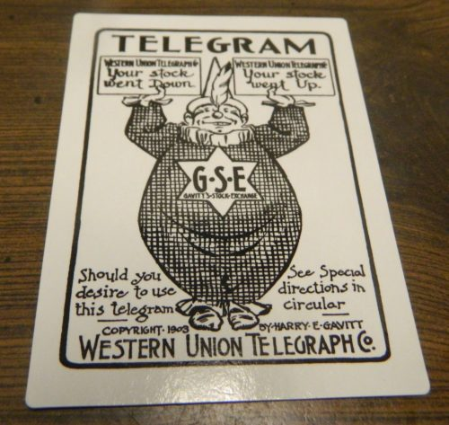 Telegram Card from Gavitt's Stock Exchange