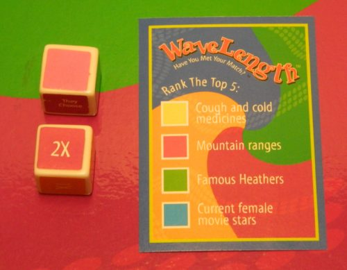 WaveLength Board Game Dice and Card