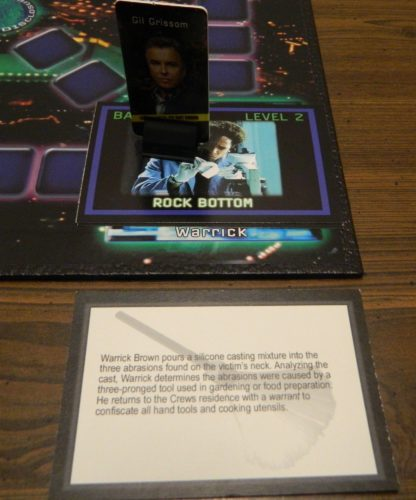 Clue Card in the CSI Board Game