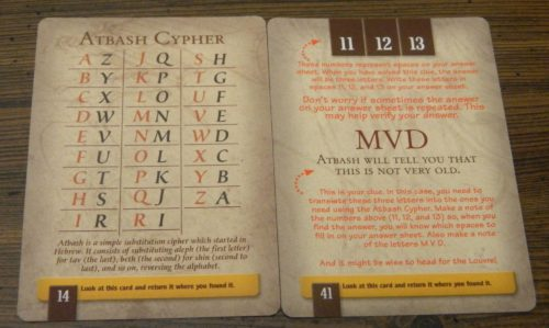 Cypher Card in The Da Vinci Code Board Game