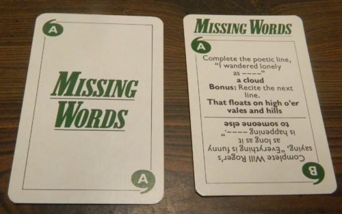 Missing Words Card in Game of Quotations