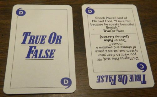 True or False Card in Game of Quotations