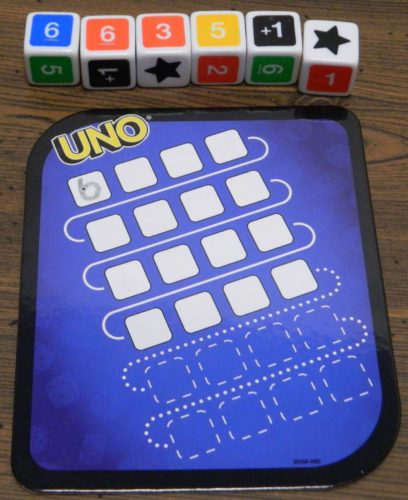 First Roll in UNO Dice Game Roll and Write