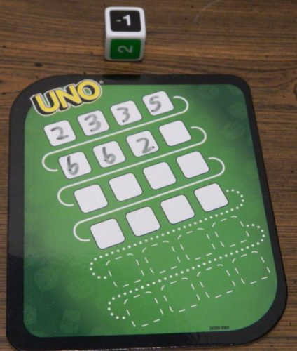 Negative One Penalty in UNO Dice Game Roll and Write