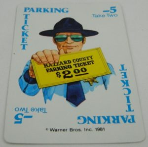Dukes of Hazzard Card Game Parking Ticket Card