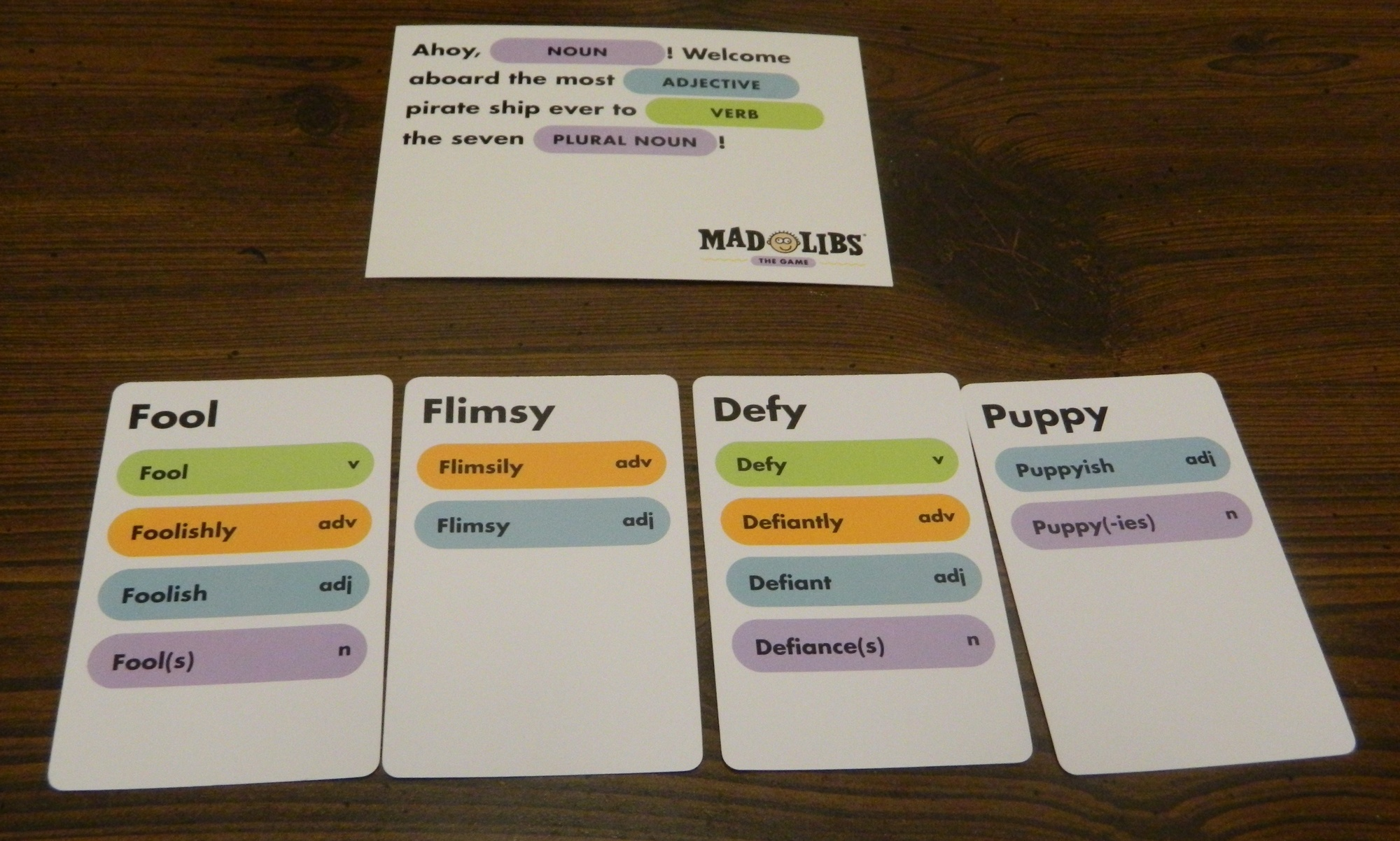 It is a photo of Printable Mad Gab Cards with set up