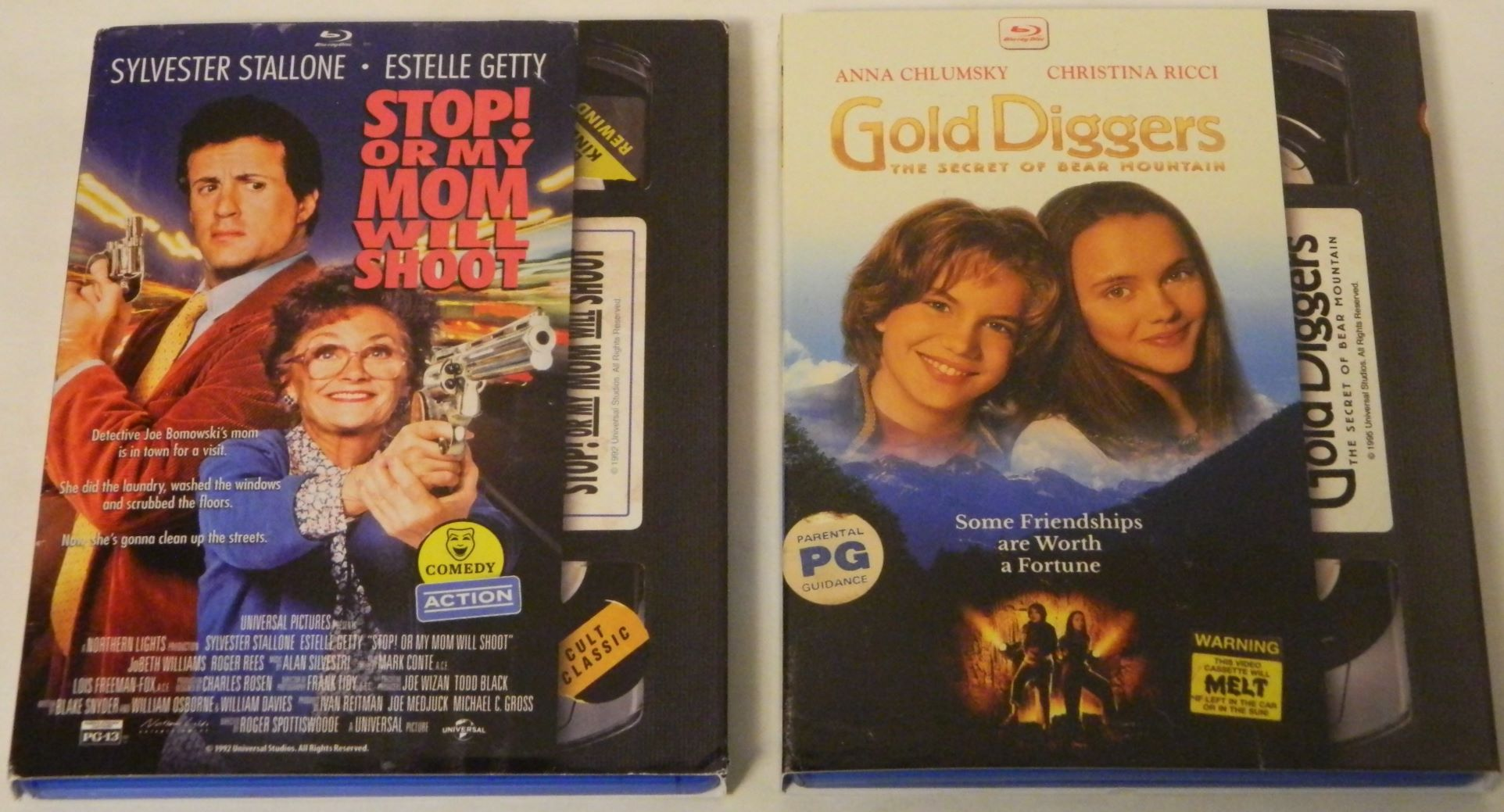 Stop Or My Mom Will Shoot and Gold Diggers The Secret of Bear Mountain Blu-rays